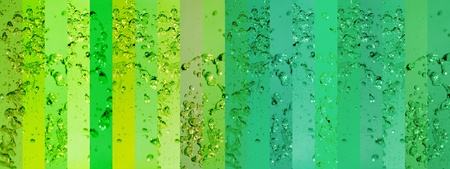 aura soma: Long background with banners in green palette with drops splash