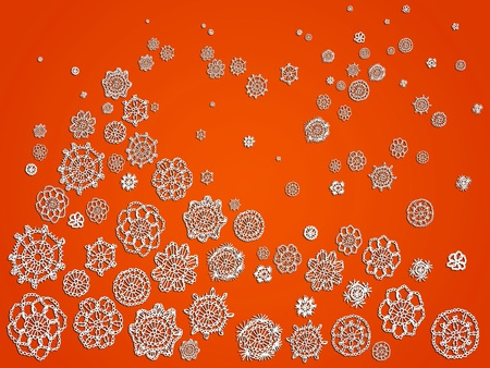 Romantic background for Halloween with white crochet flowers patterns over pumpkin orange photo
