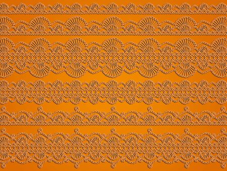picots: Light orange elegant background with crochet needle laces variety of patterns