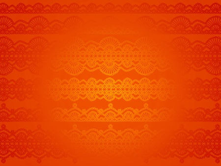 needle laces: Satin effect on orange brilliant silky wallpaper background with crochet laces pattern Stock Photo