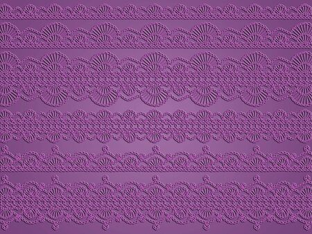 Elegant vintage fabric cloth in sober purple with delicated laces as background photo