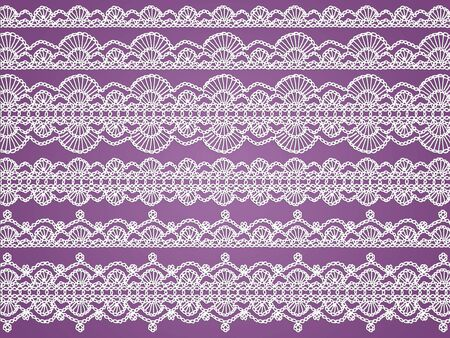 White femenine laces in white fabric handmade knitted in crochet photo