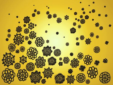 misteries: Black crochet spots flying over yellow bright sunny background