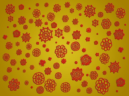 similitudes: Greenish ochre background with red flowers wallpaper