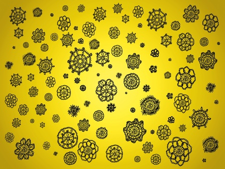 Yellow background with black spots in crochet patterns photo