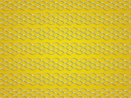 picot: Reti bianche all'uncinetto trasparenti nelle linee su sfondo giallo