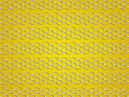 White transparent crochet webs in lines on yellow background photo