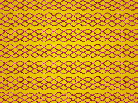 purls: Ochre yellow background with red links in crochet laces pattern Stock Photo