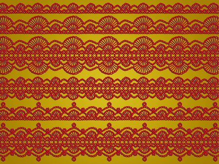 Elegant vintage red crochet laces patterns over golden background photo