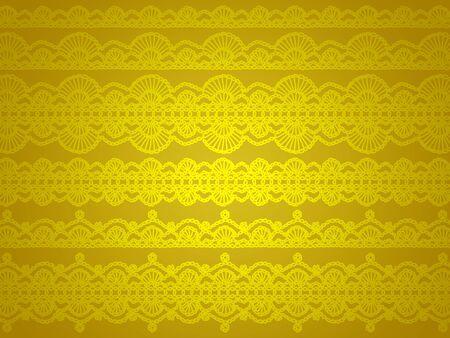 Luminous yellow wallpaper with crochet thread draws
