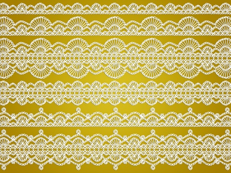 Thin fabric crochet laces over silky yellow background