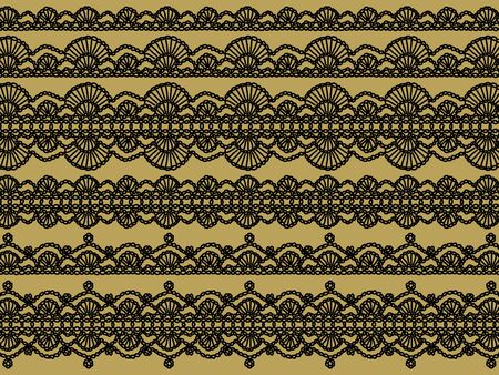 Black handmade crochet isolated patterns over beige gold background photo