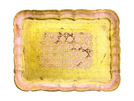 Light yellow vintage antique wood tray over white photo