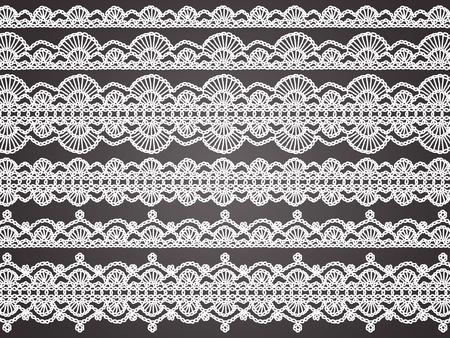 picot: Delicatezza e femminilit� in bianco fragili purls trasparenti crochet bianco isolato su sfondo nero