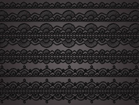 sophistication: Sophistication in black crochet laces patterns for femenine clothes or home decor as wallpaper Stock Photo