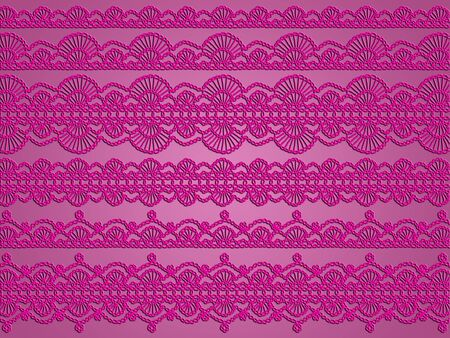 magentas: Passionate fabric with crochet patterns in pinkish purple over pink silky backdrop
