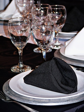 Elegance for party celebration dinner in silver, black and white photo