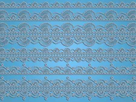 Transparent crochet laces patterns over light blue background as exclusive wallpaper Stock Photo - 12623644