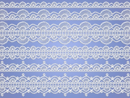 needle laces: White delicate crochet laces over light blue background Stock Photo