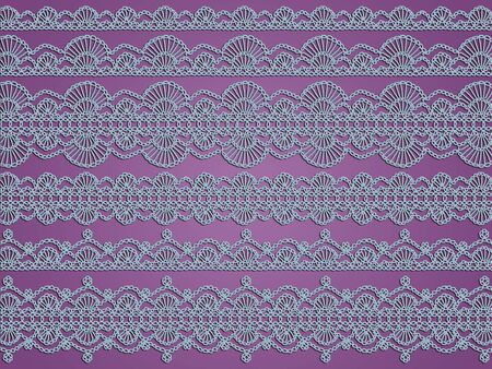 Old delicate light blue crochet laces patterns over sober violet photo
