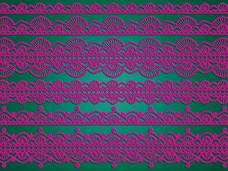 Christmas background design of crochet laces in pink and green photo
