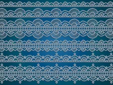 textil: Delicacy of many crochet fabrics patterns in light blue over dark blue Stock Photo