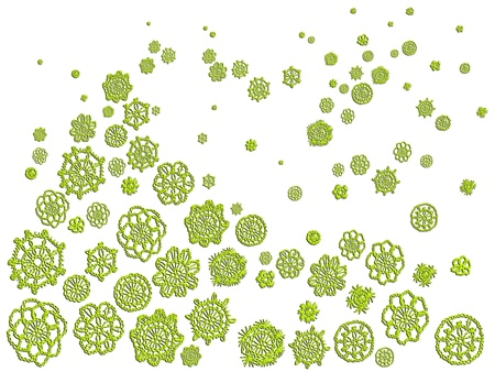 needle laces: Green crochet circular patterns with perspective isolated over white background