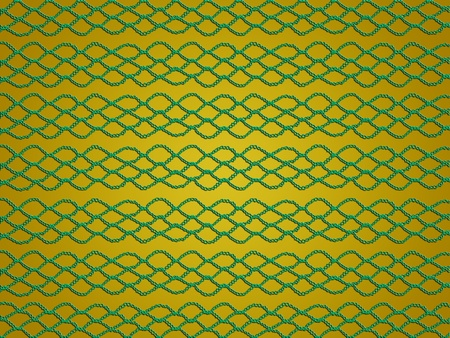Yellow background with crochet lace fabric with simple pattern in green photo