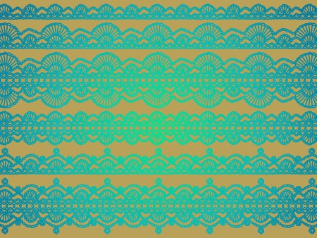 Brilliant glossy turquoise variety of crochet lace patterns over gold beige background
