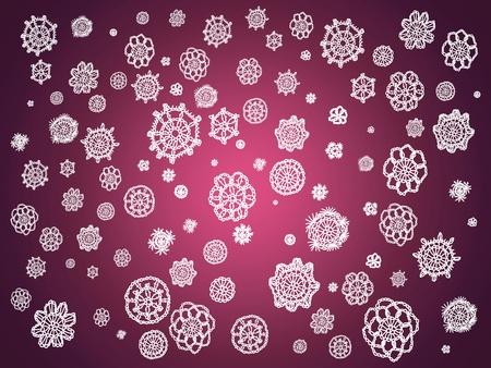 similitude: Dark pinkish purple backdrop with white crochet snowflakes falling Stock Photo