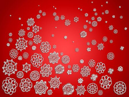 Red Christmas festive brilliant background with crochet snowflakes as a tree and snowflakes falling photo