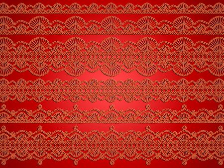 crafted: Orange warmth crafted crochet links in variety of laces over silky red background