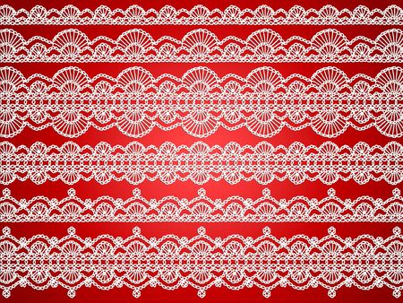 White thread handmade knitted in crochet as laces over brilliant red Christmas background photo