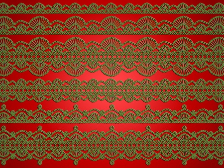 Elegant sophisticated Christmas wallpaper in glossy red and green with crochet laces photo