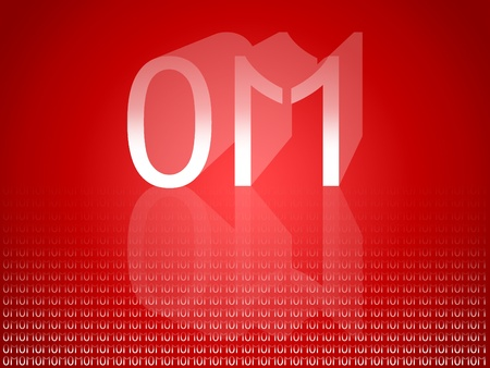 Om mantra in binar code, 01, 011, 1, 11, 0, one, zero, eleven Stock Photo