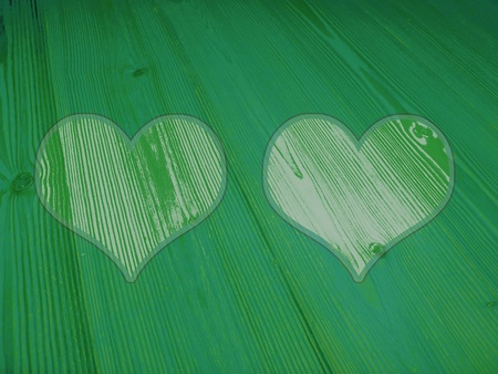 romaticism: Two heart portraits spaces in green old wood background