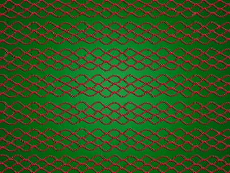 Simple red crochet laces pattern over green Christmas backdrop photo