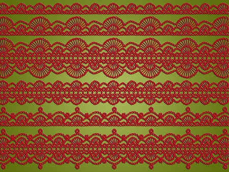 purls: Light olive green background with red variety of crochet laces patterns