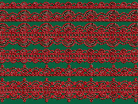 Red crochet knitted laces over green background photo