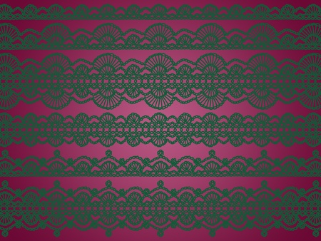 Femenine background with crochet green patterns over pinkish purple photo