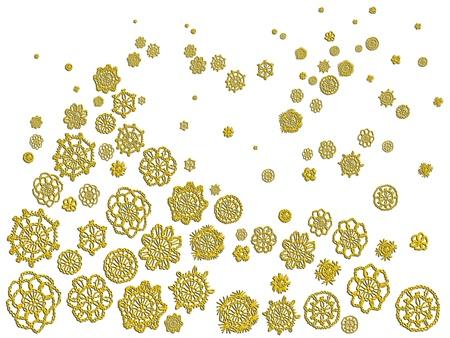 picot: Fiori crochet d'oro come isolato albero di Natale e la neve