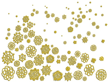 Gold crochet flowers like isolated Christmas tree and snow Stock Photo - 12623510