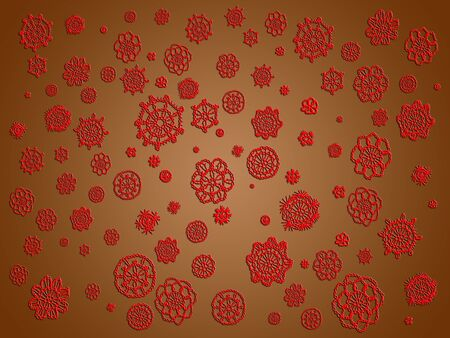 similitude: Red crochet patterns in flowers over brown background