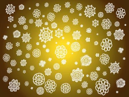 Weißes Licht Häkeln Schnürsenkel In Blumen über Gold Weihnachten ...