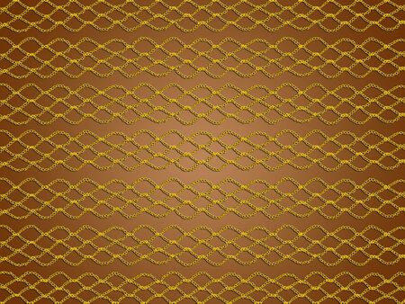 Basic crochet laces in gold over brown background photo