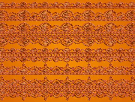 sofisticated: Orange variety of elegant crochet laces as monochrome background