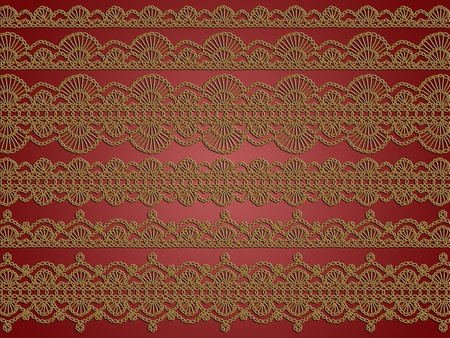 picots: Sophistication in golden brown crochet laces over brownish red silky backgroundred