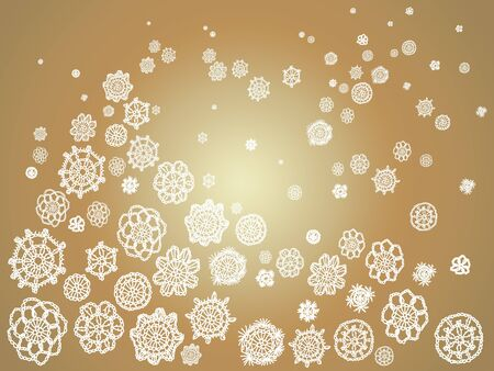 Golden background with a snowy landscape in crochet flowers Stock Photo