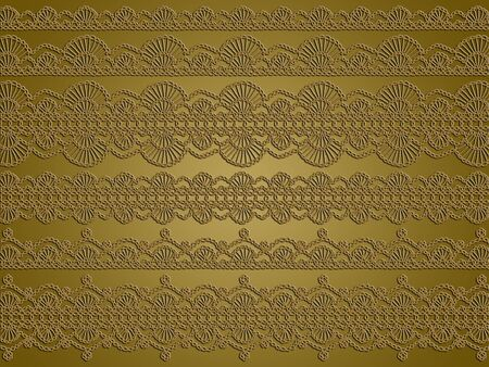 Sober elegance of crochet threads in different patterns as background in gold brown photo