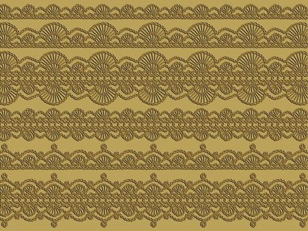 chained: Elegant crochet chained laces background in brown and beige Stock Photo